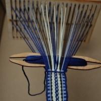 Hřebenový pásek - modrý ::::: Blue weaving on heddle loom