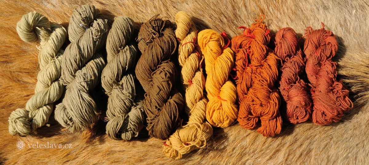 Přírodní barvení vlny (třezalka, kopřiva, ořech - list, cibule, mořena)